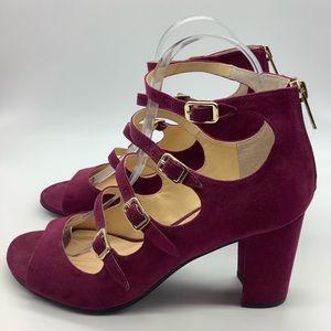 Unisa Undarrah Chunky Heel buckle peep toe purple
